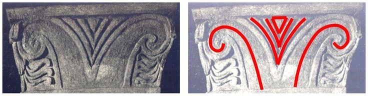 Între cele două volute opuse şi dispuse în oglindă, cu ajutorul cărora este reprezentat stilizat bucraniul, se află poziţionat un simbol derivat pentru simbolul V al Marii Zeiţe, şi anume un V dublat sau triplat, simbol provenind din neoliticul vechi european.
