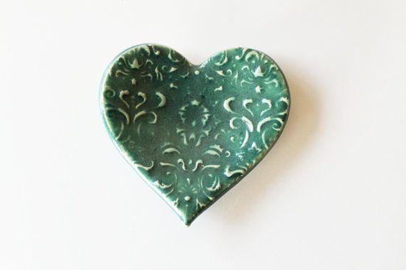 Клей Сердце Кольцо тарелка, ложка Отдых или Аксессуар блюдо