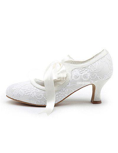 Chaussures de mariée à talons épais blanches en satin avec dentelle - Milanoo.com