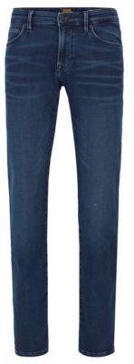 HUGO BOSS 10.5 oz Cotton Jeans, Regular Fit Orange Barcelona 33/32 Blue