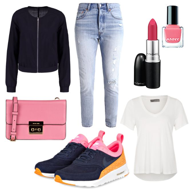Damen Outfit 2017-05-13 - #ootd #outfit #fashion #oneoutfitperday #fashionblogger #fashionbloggerde #frauenoutfit #herbstoutfit - Frauen Outfit Frühlings Outfit Outfit des Tages Sommer Outfit Anny Flamingo Jacke Jeans Jerseyshirt Levi's Lippenstift MAC Michael Kors Nagellack Nike OPUS Skinny Sneaker Thea Umhängetasche Vero Moda weiss