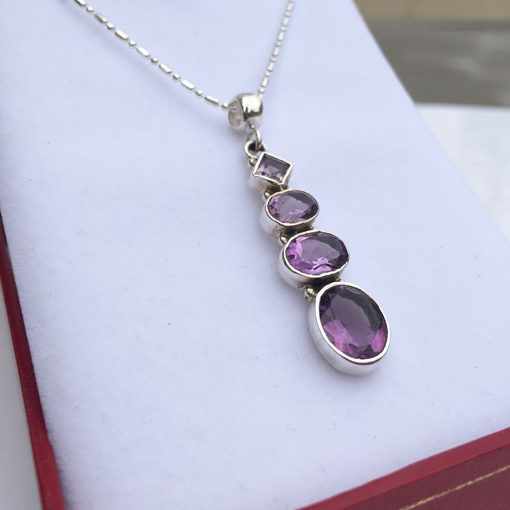 """Amethyst Drop Pendant"" - Fine Peruvian Sterling Silver - Handcrafted by Virginia Ugarte - $119"