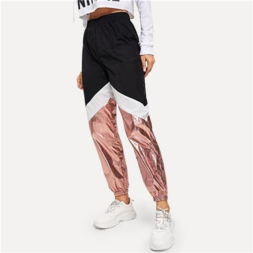 Multicolor Color-Block Contrast Metallic Nylon Pants 2019 Spring Women Lady Tapered/Carrot Pants Multi XS