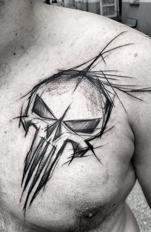 Inez Janiak skull tattoo <!-- I like the rough line outline design on this one -->