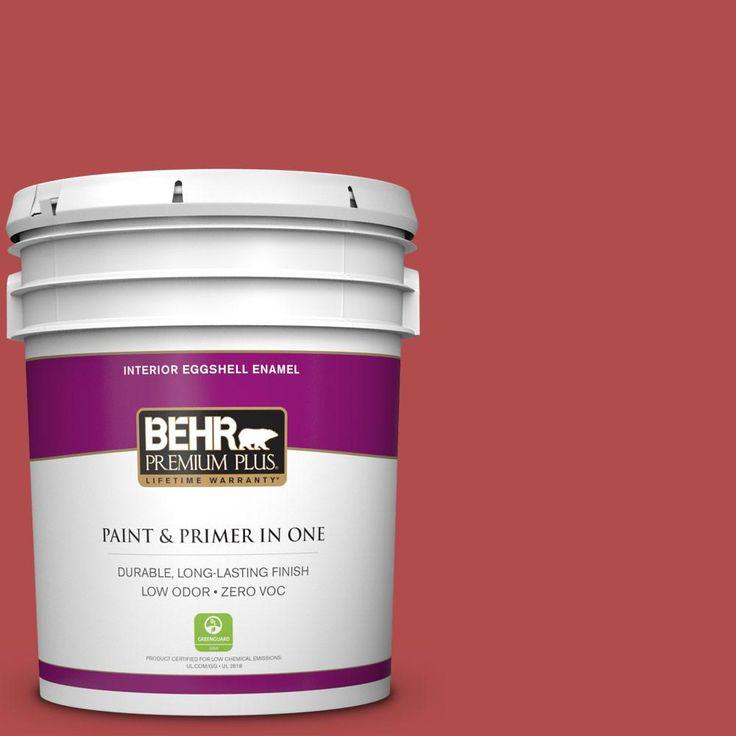 BEHR Premium Plus 5 gal. #bic-48 Fortune Red Zero VOC Eggshell Enamel Interior Paint
