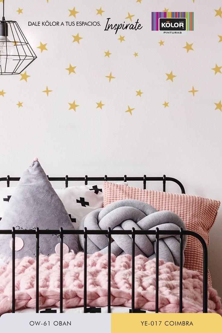 Transformá el dormitorio de los chicos con este stencil de estrellas. Dale un toque personalizado para crear su espacio ideal. ¿Te animás? Descargá la plantilla y que empiece la diversión. Descubrí las Pinturas Kölor y elegí entre más de 1.500 colores. Furniture, Home Decor, Star Stencil, Template, Create, Interior Design, Guys, Space, Yurts