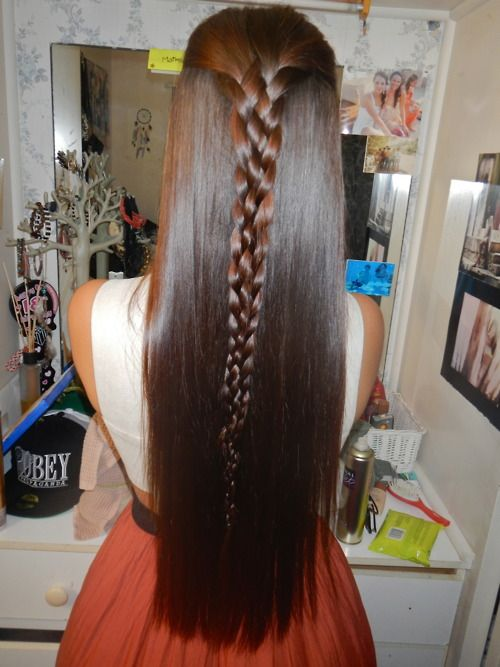 how to do weave : back braid, long, straight, brown hair. BROWN HAIR Pinterest My ...