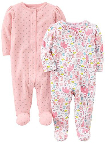 Simple Joys by Carter's Baby Girls' 2-Pack Cotton Footed Sleep and Play Animals Green/Dot 3-6 Months