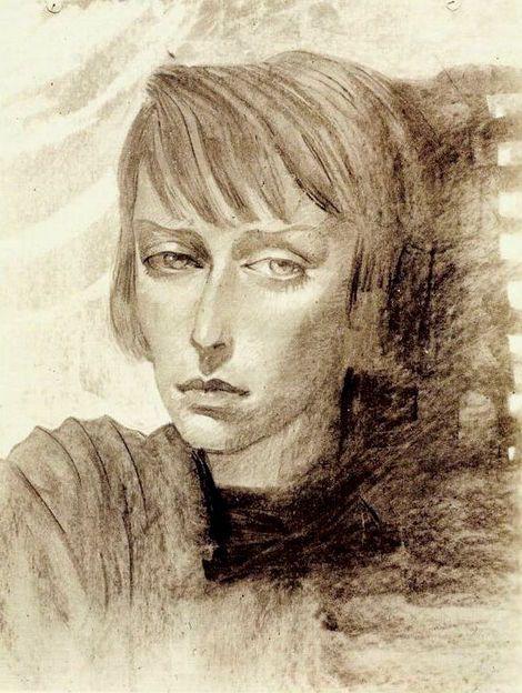 Stanisław Ignacy Witkiewicz, Portrait of Czeslawa Okninska on ArtStack #stanislaw-ignacy-witkiewicz-witkacy #art