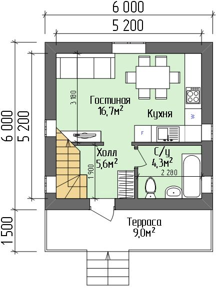 План дачного дома 6х6
