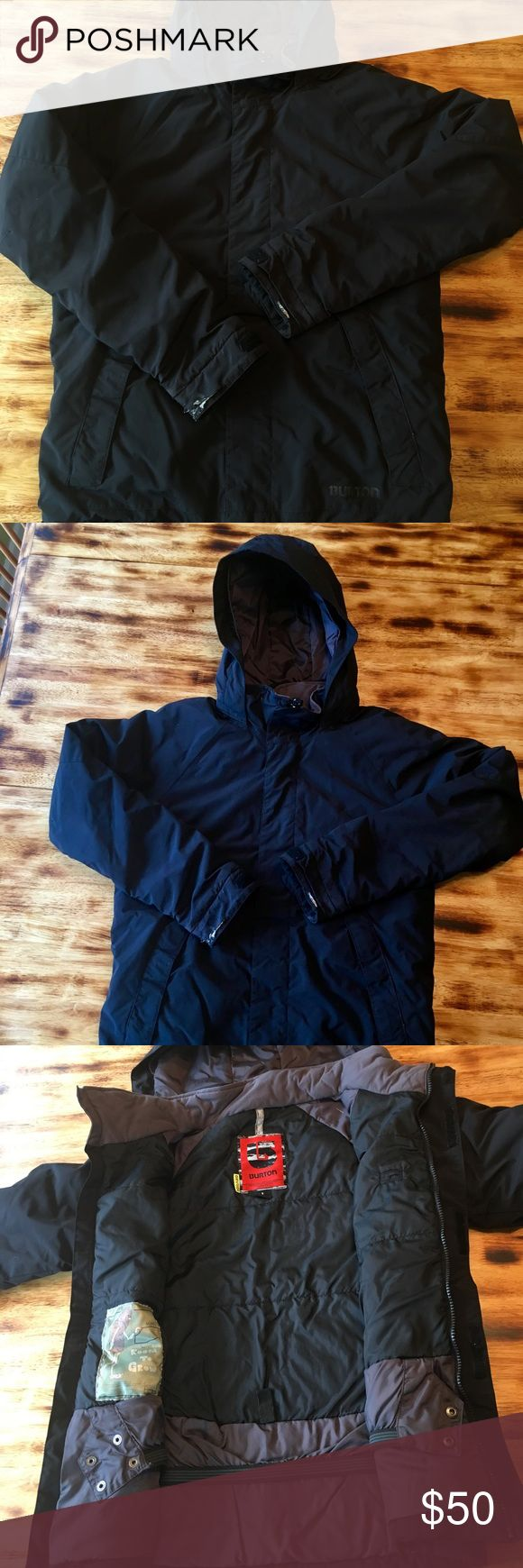 Boys Winter coat Boys black snowboard jacket by Burton-size L Some rips on cuffs from tow rope, otherwise in good shape Burton Jackets & Coats