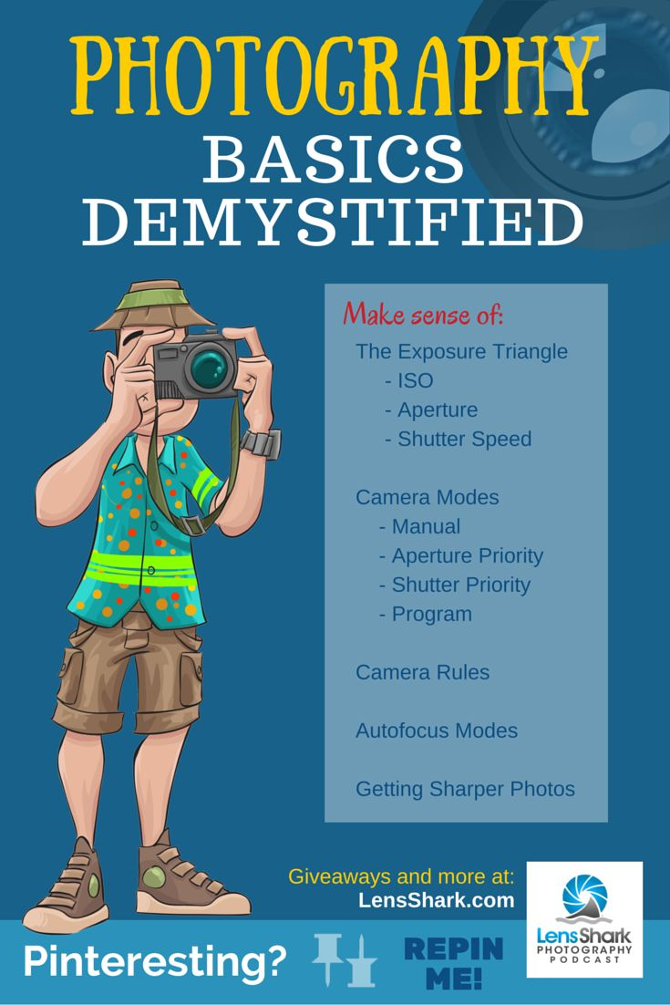 Photography Basics Demystified  –––  Make sense of: The Exposure Triangle (ISO, Aperture & Shutter Speed), Camera Modes (Manual, Aperture Priority, Shutter Priority & Program), Camera Rules, Autofocus Modes and Getting Sharper Photos.  –––––  More to come!