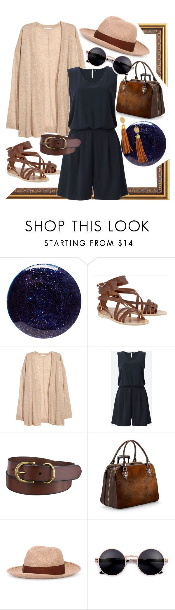"""""""Holiday #4"""" by hyenanhyna ❤ liked on Polyvore featuring Lauren B. Beauty, Ancient Greek Sandals, Uniqlo, Aspinal of London, Borsalino, Susan Shaw and roadtrip"""