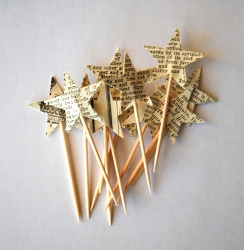 Take this idea, cut out different shape, say baby rattle, stoller, stork, etc, use for cupcake toppers if we go that route?