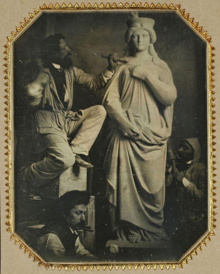 Anonymous | The Sculptor Hans Gasser and Workshop Assistants at Work | 1855-1857 | Albertina, permanent loan of the Höhere Graphische Bundes-Lehr-und Versuchsanstalt, Vienna #ActingForTheCamera