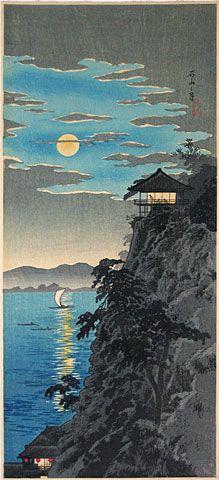 Moonlight over the Bay by Hiroaki (Shotei)