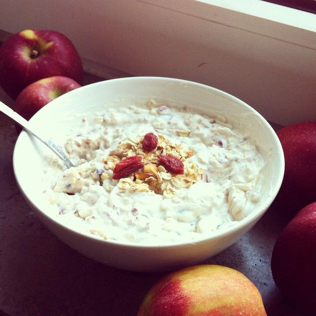 It's Time for apples! Homemade Bircher-Muesli for sunday-breakfast! Recipe: Grated Apple Mixed with raisins, cinnamon, goji berries, nuts, basic muesli and yoghurt! If you like to: already prepare in the evening for an extra creamy result...