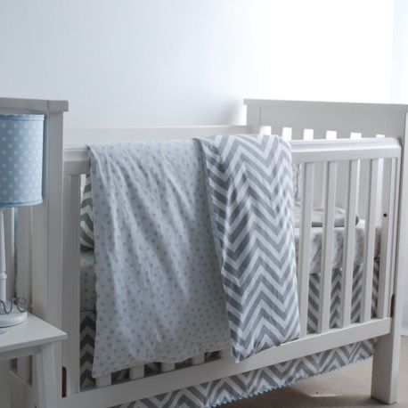 Cot Duvet Set - Grey Chevron + Blue Polka Dot by red plum linen