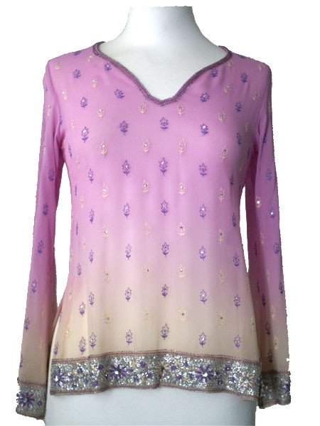 Violet/Cream Silk Kurti Top