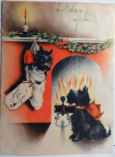 30s Scottie Dog in The Stocking Vintage Christmas Card 1399 | eBay
