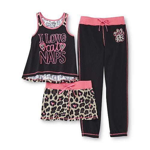 Joe Boxer Girl's Pajama Tank, Shorts & Pants - Naps