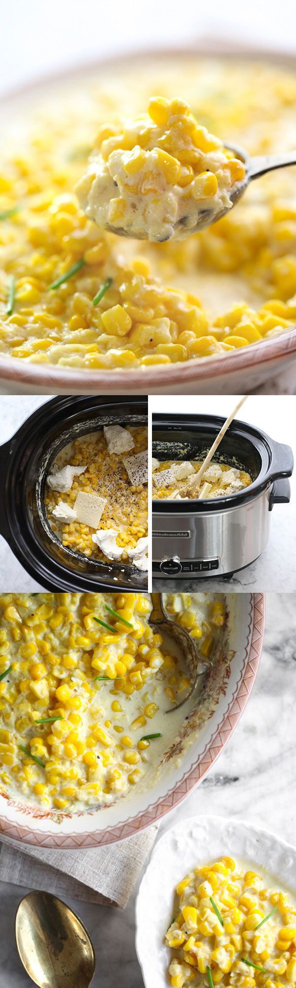 5 ingredients and a #crockpot or #slowcooker is all you need for this creamed corn #corn foodiecrush.com