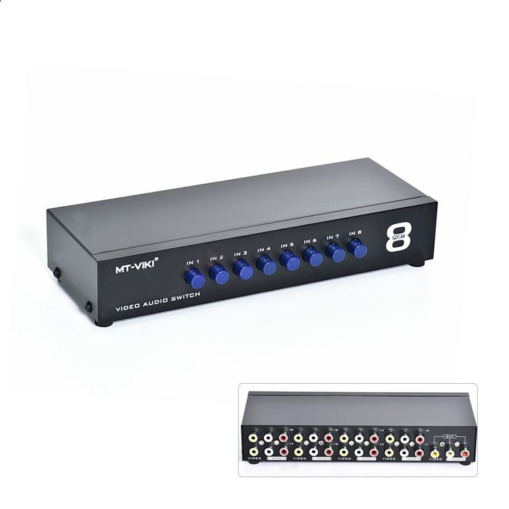 8-Port Audio Video Switch. Easily connect up to 8 A/V devices to your TV or home theater system using this Audio Video Selector Switch that features 8 composite video inputs with stereo audio and 1 composite video output with stereo audio for flexibility.