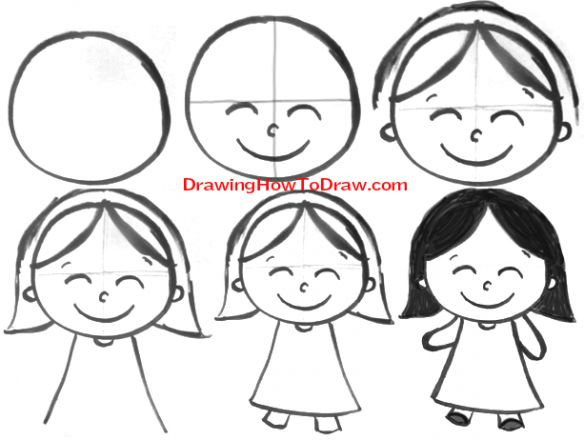 learn how to draw cartoon girls with simple step by step drawing lesson for children - Kids Simple Drawing