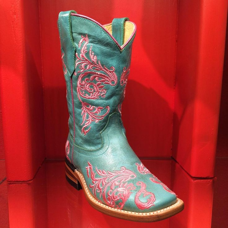 Kids Cowboy Boots - Corral Pink Turquoise G1244 - Texas Gold Minors