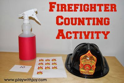 www.playwithjoy.com--Firefighter Counting Activity for preschool/kindergarten. Counting with one to one correspondence. For more pre-k pins visit pinterest.com/playwithjoy
