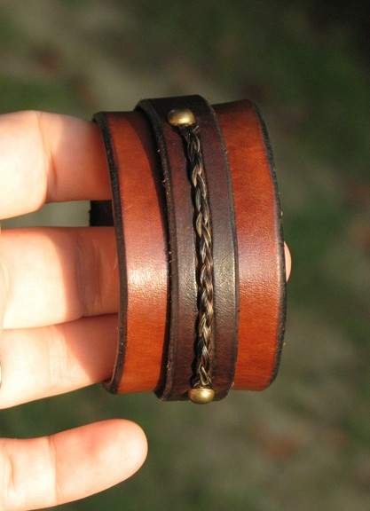 Leather and Horsehair Bracelet by TheSugarLady on Etsy