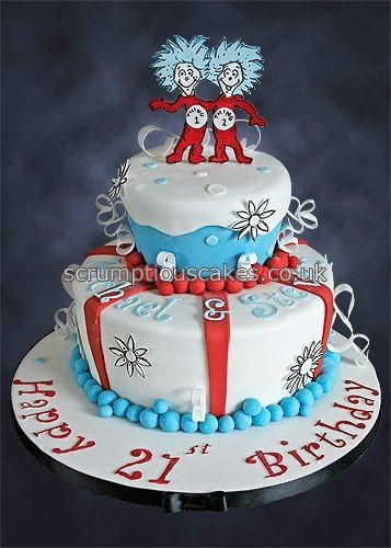 * Thing 1  2 birthday cake for a twins 21st birthday - PJ x