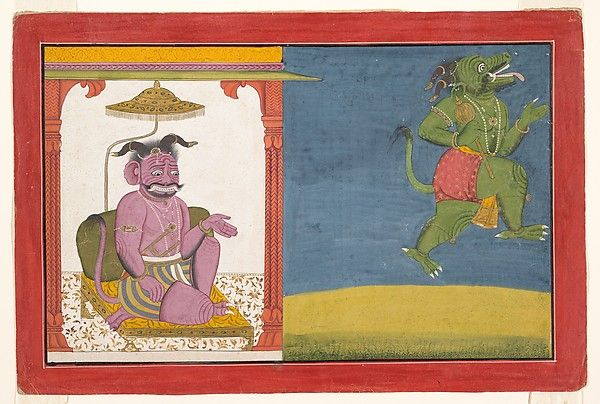 Attributed to Manaku (active ca. 1725–60). The Demon Hiranyaksha Departs the Demon Palace: Folio from a Bhagavata Purana Series, ca. 1740. The Metropolitan Museum of Art, New York. Cynthia Hazen Polsky and Leon B. Polsky Fund, 2002 (2002.179) #halloween