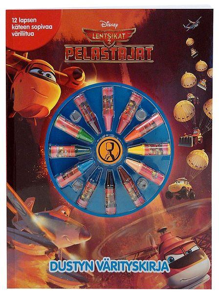 Lentsikat 2, Dustyn värityskirjan mukana tulevat väriliidut odottavat pientä taiteilijaa! Vauhdikkaat lentsikat, näppärät trukit ja ketterät helikopterit houkuttelevat lisäämään reippaasti väriä joka aukeamalle. Lennokkaita kuvia täydentää Pelastajat-elokuvan jännittävä tarina.