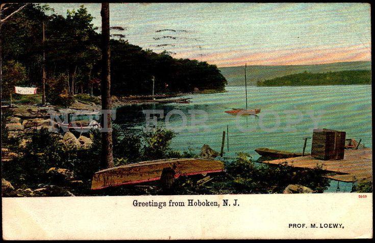 Hoboken Pier NJ New Jersey vintage original ca1900 postcard