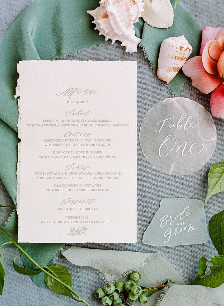 wedding table name card size%0A Sea Inspired Wedding Table Numbers  u     Escort Cards   pretty presentation of  menu with seashell table
