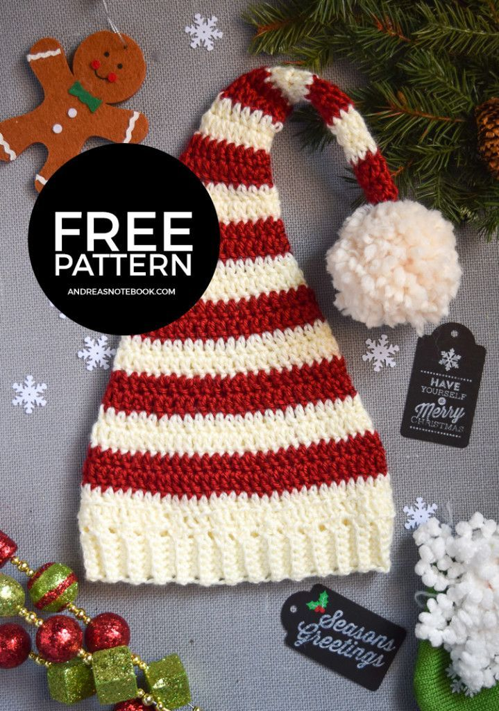 Pixie Elf Striped Newborn Hat Crochet Pattern