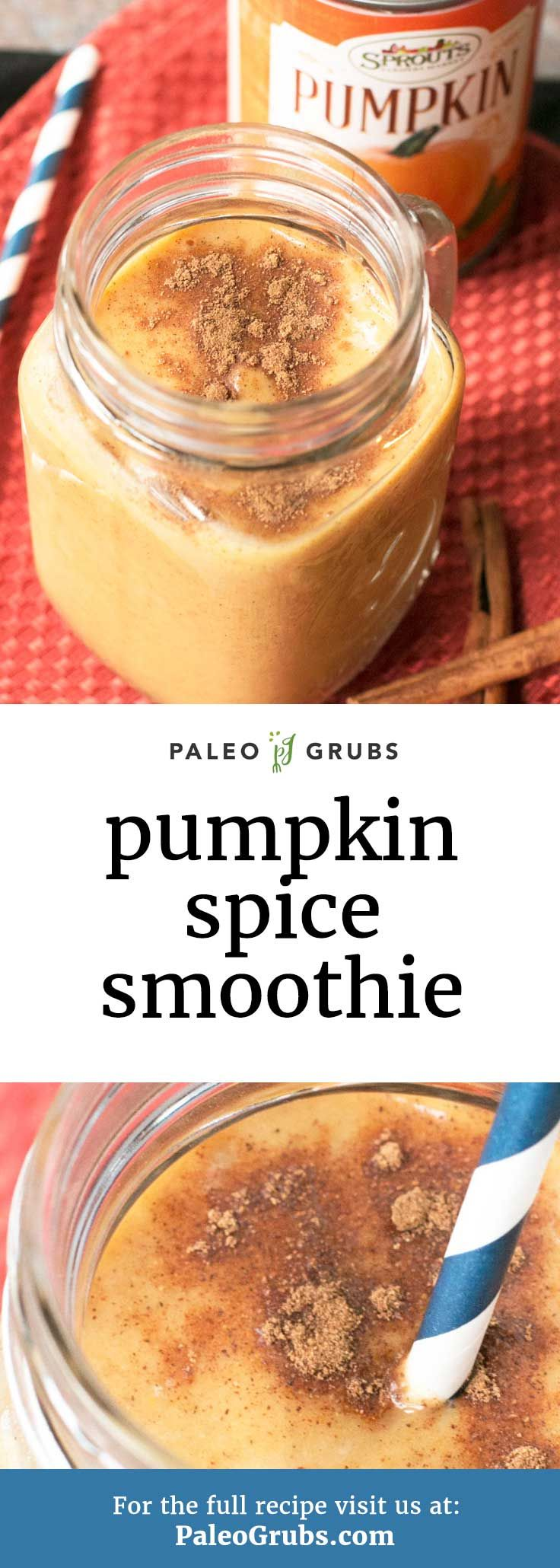 This simple and healthy paleo smoothie is my go-to when I need to get my pumpkin spice fix!