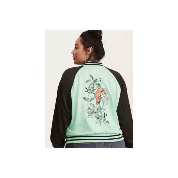 Torrid Disney Ariel Embroidered Satin Bomber Jacket ($62) ❤ liked on Polyvore featuring outerwear, jackets, black, bomber jackets, flight bomber jacket, blouson jacket, satin jackets and embroidery jackets