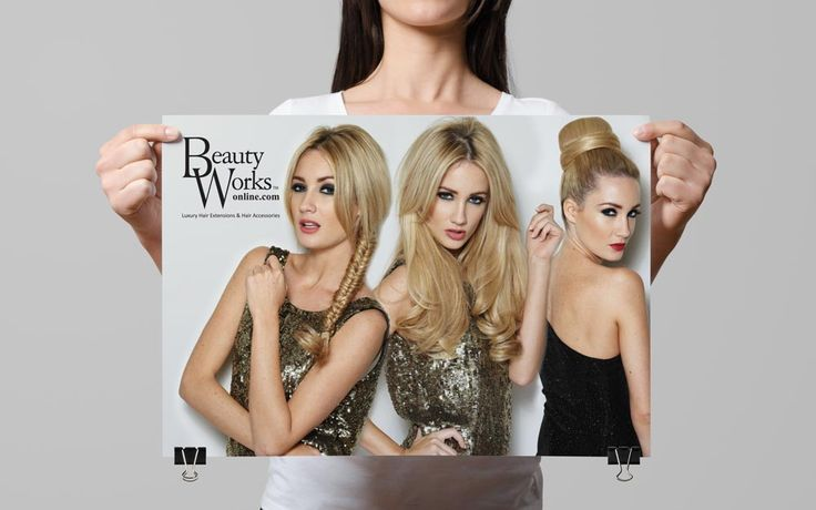 Print Advertising Design for Beauty Works Hair Extensions