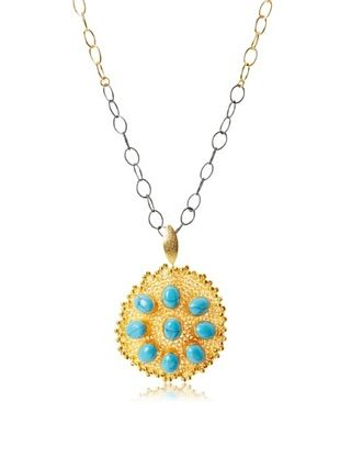 66% OFF Grand Bazaar Two-Tone Chain Crochet Turquoise Necklace