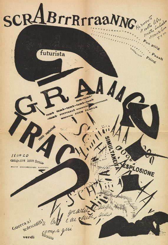 At night, in her bed... Futurist typography by F.T. Marinetti. Milan, 1919
