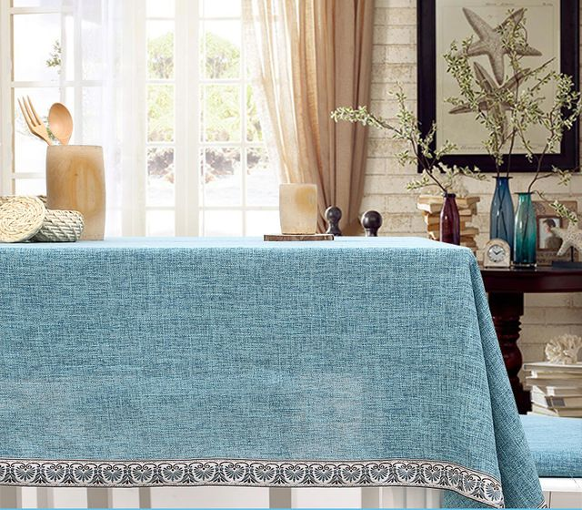 Abstrakte Japanese fabric Mediterranean tablecloth cotton rectangle simple square solid zakka blue natural linen classical