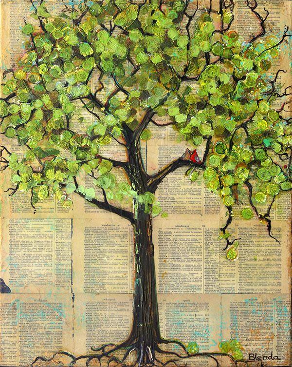 Image of Original Painting Mixed Media Art Cardinal Love Birds