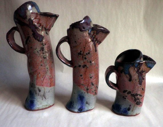 RUSTIC Pitchers/ Creamer /  stoneware Pottery, set of 3 in graduating sizes