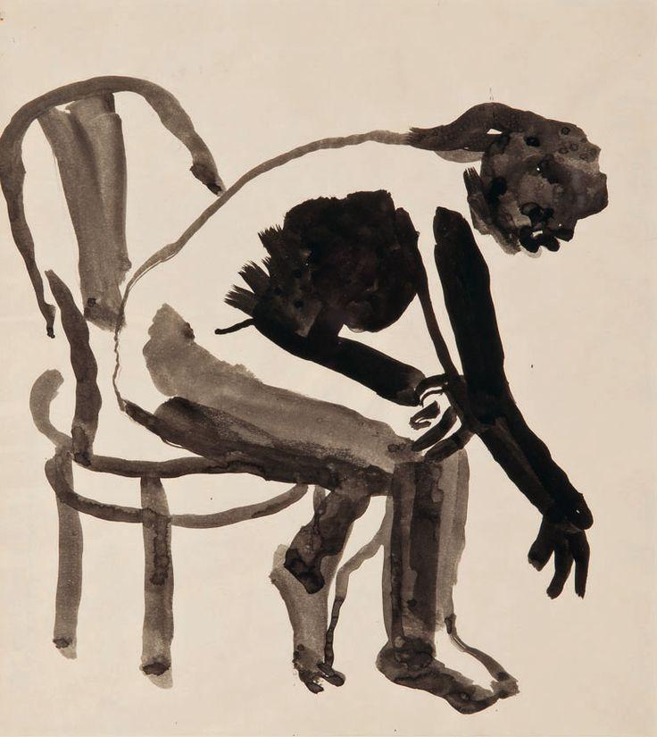 David Park, Girl in Chair Bending Over