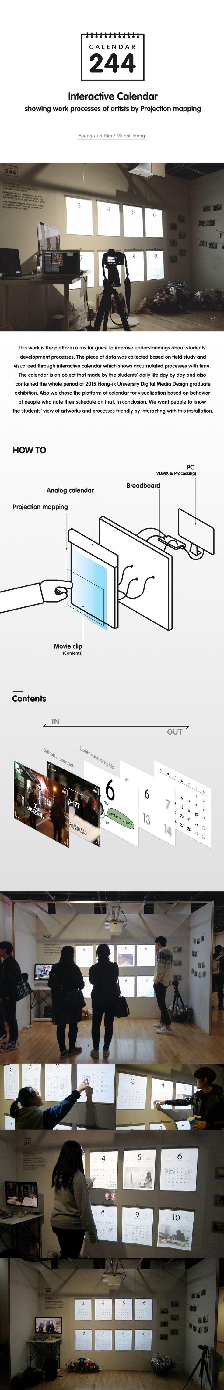 Young-eun Kim, Mi-hak Hong│ Calendar 244 - Interactive calendar showing work processes of artists by projection mapping│ Major in Digital Media Design │#hicoda │hicoda.hongik.ac.kr