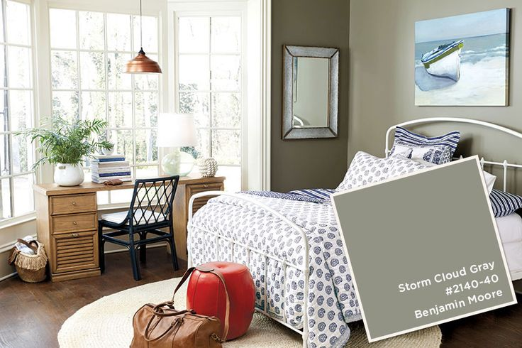 Benjamin Moore's Storm Cloud Gray in bedroom from Ballard Designs catalog