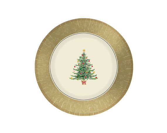 Classic Victorian Christmas Paper Dinner Plates  12 inch