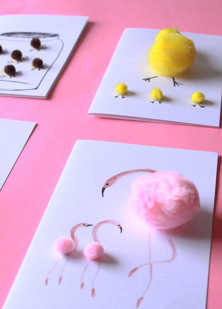 These DIY Mother's Day Cards are very easy to make and are very cute. You could make it with your kids.The flamingo trend card is my favorite.